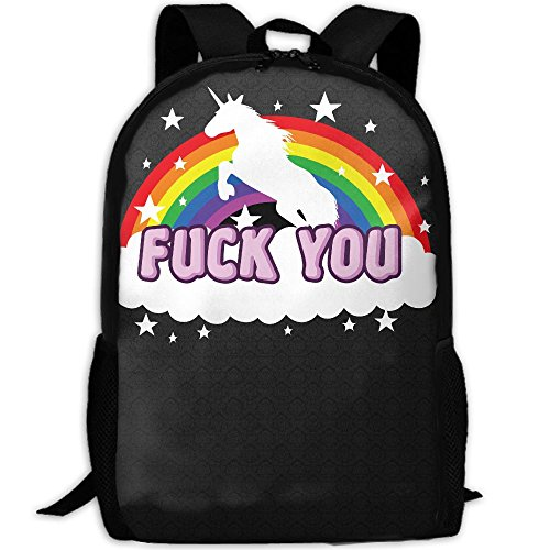 Fuck You Rainbow Unicorn Interest Print Custom Unique Casual Backpack School Bag Travel Daypack - Sunglasses Fuck You