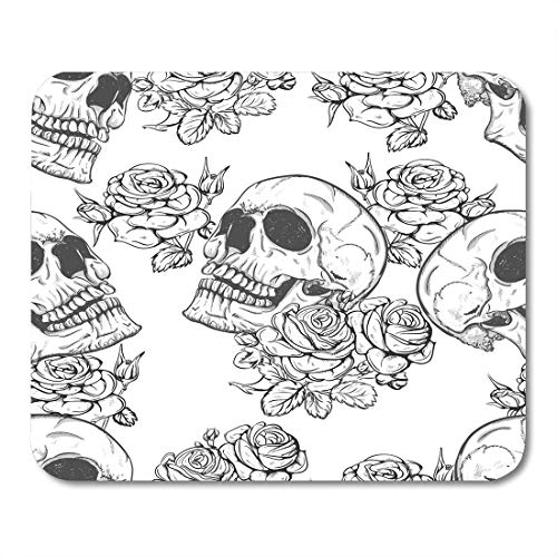Emvency Mouse Pads Colorful Pattern Roses and Skulls Halloween Vintage Rock Tattoo Mousepad 9.5