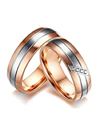 GINBL 6mm Rose Gold Plated Men Titanium Couple Ring Cubic Zirconia Women Engagement Promise Wedding Band