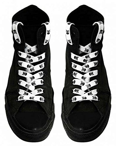 Shoe laces White with Black (Skull Shoelaces)