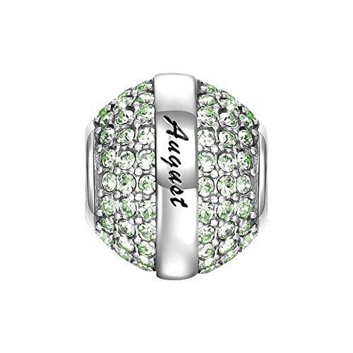Soufeel August Birthstone Olivine Swarovski Crystal Charm 925 Sterling Silver