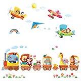 DECOWALL DAT-1406A1506B Animal Train and Biplanes Kids Wall Stickers Wall Decals Peel and Stick Removable Wall Stickers for Kids Nursery Bedroom Living Room