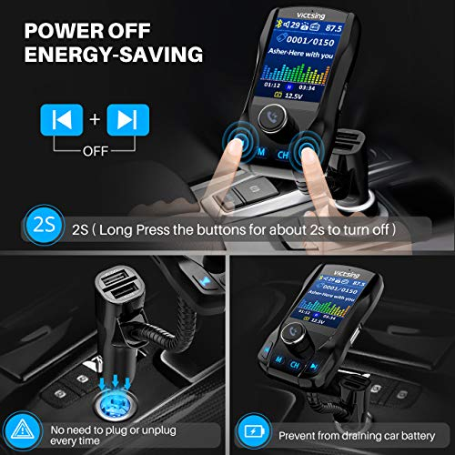 """VicTsing 1.8"""" Color Display Bluetooth FM Transmitter for Car, Wireless Bluetooth Car Adapter with EQ Mode, Power Off, 3 USB Ports, 4 Music Playing, Hands-Free Calls, AUX Input"""