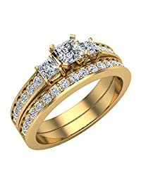 Past Present Future Princess Accented Diamond Wedding Ring Set 1.06 ctw 14K Gold (J,I1)