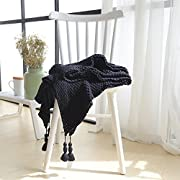 Super Soft Throw Blanket, 100% Cotton Cable Knitted Crochet Cover Blanket with Tassels Multi Color