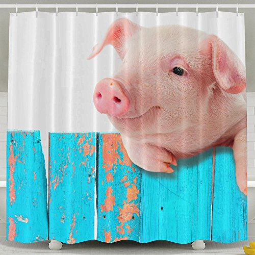 Funny Pig Hanging On A Fence Fashion Shower Curtain Deluxe Waterproof Bath - Curtain Shower Pigs