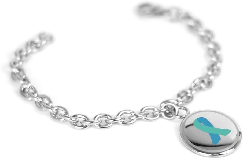 Amazon Com My Identity Doctor Teal Ovarian Cancer Awareness Bracelet Steel Mini O Link Wrist Size 5 5 Inch Jewelry