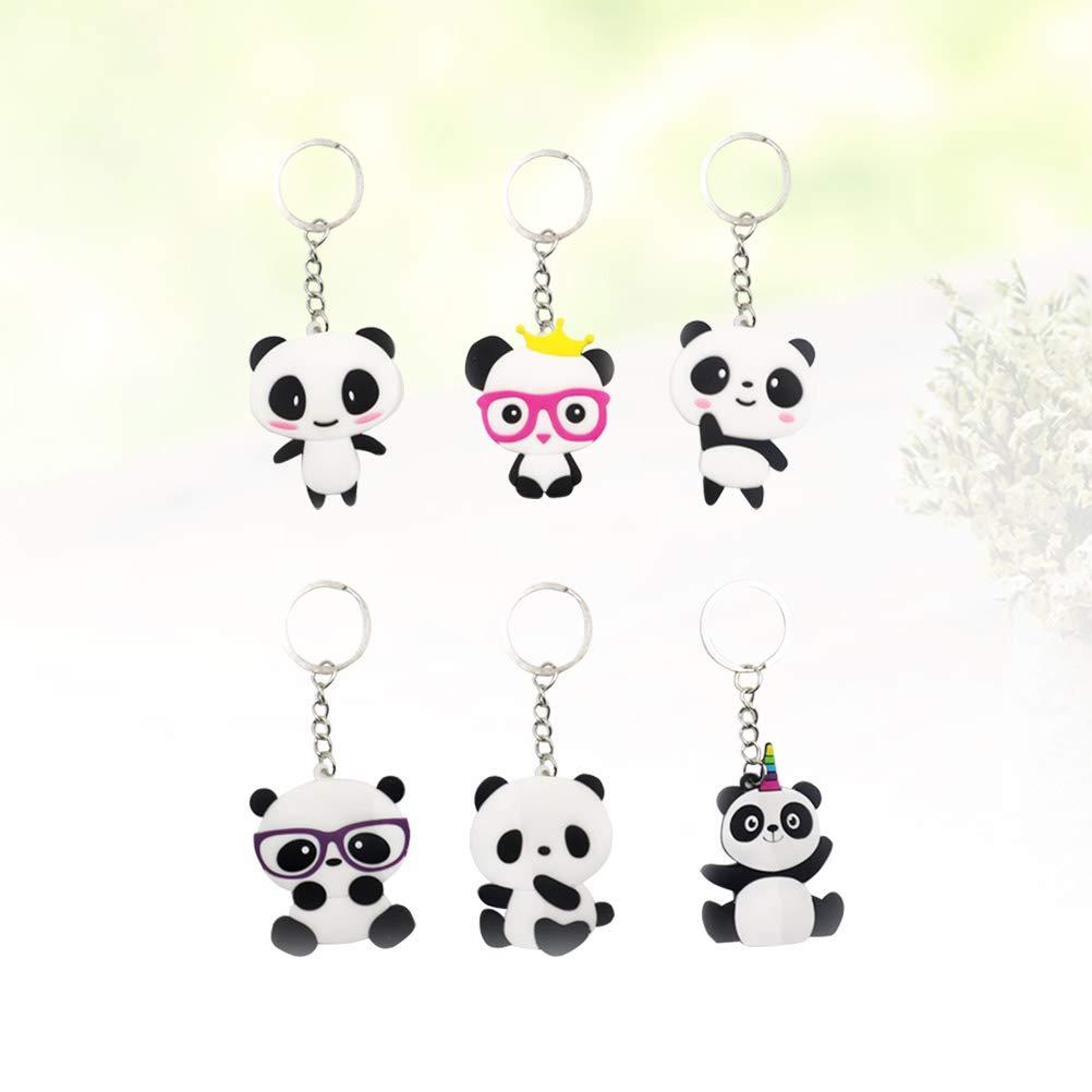 NUOBESTY 6pcs Panda Keychain Animal Key Ring China Keychain Pendant Purse Bag Charm Decoration