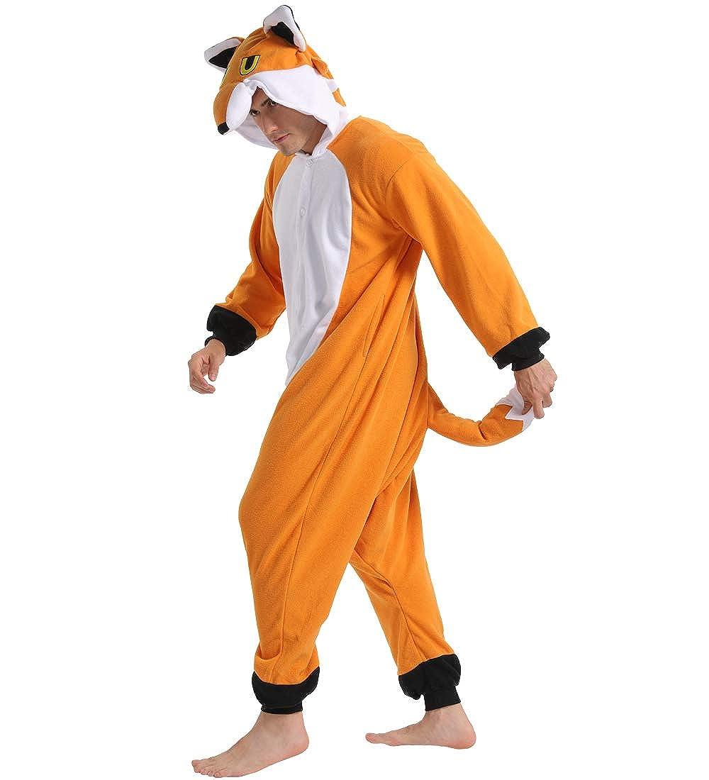 dressfan Animal Pigiama Volpe Costume Cosplay Adulto Unisex Costume Animale Adulto Bambino Volpe Pigiama Volpe Costume Adulto Bambino