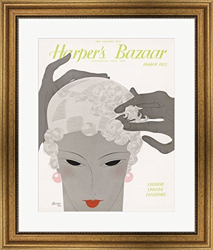 Harper's Bazaar March 1932 Framed Art Print Wall Picture, Wide Gold Frame, 23 x 27 inches - 1932 Gold Framed Print