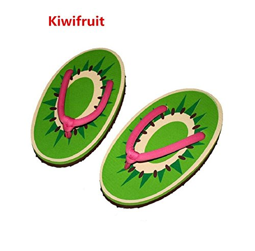 YYHSO Unisex flip flop conjunto de adultos - (juego de 2) zapatillas de la fruta de la historieta fresco / un tamaño 35-38 , orange kiwifruit