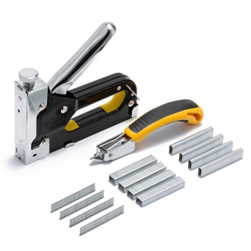 Aouker 3-in-1 Heavy Duty Staple Gun & Puller Kit with 600 Staples for Fixing Material, Decoration, Carpentry, Furniture, Doors, Billboards by Aouker