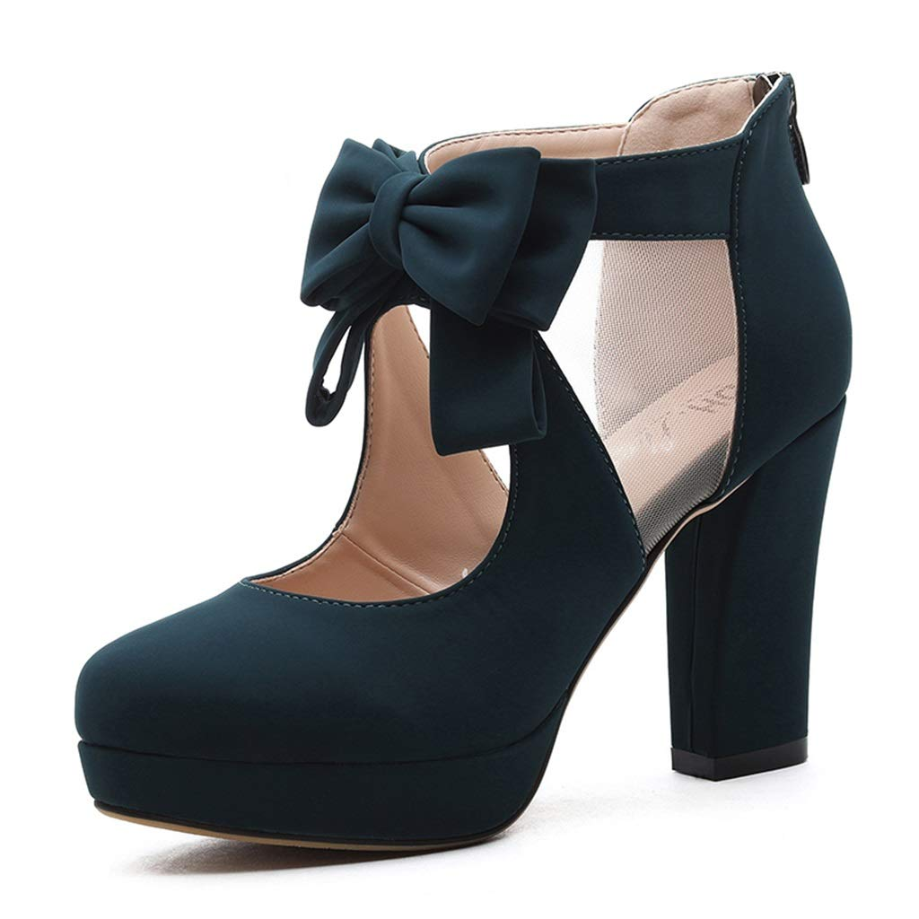 bluee Spring Heels Korean Version of The Fish Mouth Sexy Bow Waterproof Platform Wild Thick with A Single shoes Tide (color   bluee, Size   36)