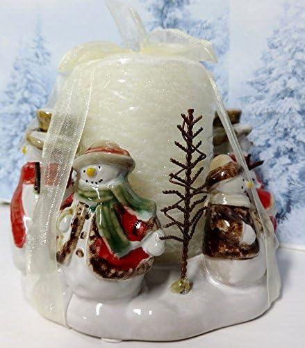 Kohl S Snowman Family Christmas High Glaze Pottery Stoneware Pillar Candle Holder Decoration Amazon Co Uk Kitchen Home