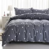 Uozzi Bedding 3 Piece Duvet Cover Set King, Reversible Printing with Brushed Microfiber White Triangle with Gray&Blue Pattern, Good Choice for Mother's day gift (Gray&Blue, King)