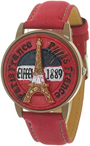 Red France Paris Eiffel Tower Design Antique Clamshell Genuine Leather Quartz Dress Fashion Watches