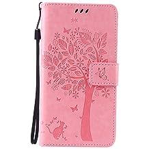 Lomogo Funda Galaxy Note 5, Funda de Cuero con Cartera para Tarjetas y Cierre Magnetico Soporte Plegable Carcasa Libro Antigolpes para Samsung Galaxy Note5 - EKATU23365 Rosa