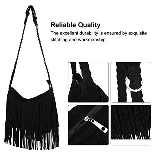 Crossbody Casual Tassels Shoulder Women Bag Fringed Messenger Leather Bags Handbag for Color Simple Camel Black PU Bag Vbiger PCBwqAC
