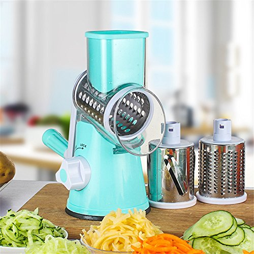 TTLIFE Adjustable 3 Different Types of Stainless Steel Manual Rotating Vegetable Chopper Round Veggie Chopper Mandoline Slicer- Vegetable Slicer/ Cutter - Potato Slicer - Cheese Grater- Food Slicer