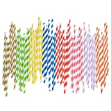 200 Pcs Disposable Colorful Paper Drinking Straws Strip 8 Colors Pink Yellow Green