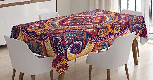 Ambesonne Paisley Decor Tablecloth, Arabic Ornamental Rug Pattern Inspired Design with Flowers and Leaves, Dining Room Kitchen Rectangular Table Cover, 60 W X 84 L inches, Multi Colored