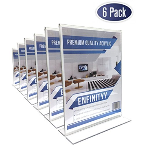 Acrylic Sign Holders 8.5 X 11 - (Set of 6) T-Shape Double Sided, Extra Thick for Quality. Great for Restaurants, Classrooms, Advertisements, Promotions, Photo Frames, Documents & More.