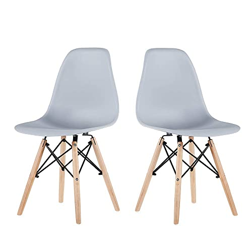 EiioX Style Mid Century Modern DSW, Armless Plastic Kitchen, Dining, Bedroom, Living Room Side Chairs, Set of 4, Grey