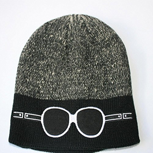 negro Thick GlassesDaily aire gorro Warm Soft Invierno black bordado Knitting al de Lined libre esquí Hat 0w6FqE7