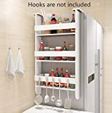 Cheap TILEMALL Rack Fridge Wood Organizer Refrigerator Side Storage Rack, Shelf Multifunction Space Organizer Sidewall Refrigerator Storage Shelf, 3 Tiers Kitchen Rack Spice Rack Kitchen Cabinet, White