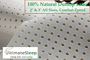 Twin - 3 Inch 100% Natural Latex Foam Mattress Pad Topper - Medium Firm