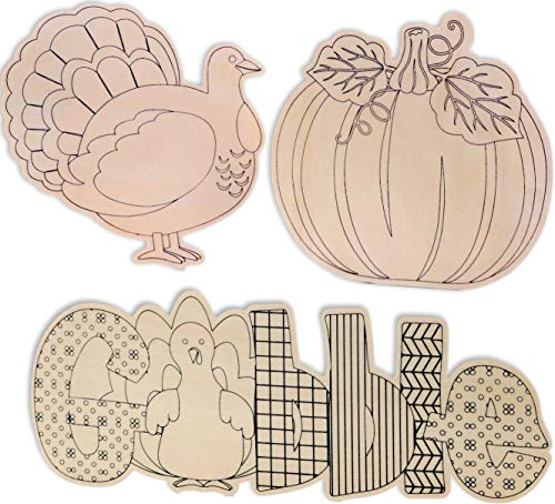 Set of 3 Unfinished Wood Cutouts for Thanksgiving Fall Craft Bundle of 3 Items Gobble, Turkey, and Pumpkin to Color in]()