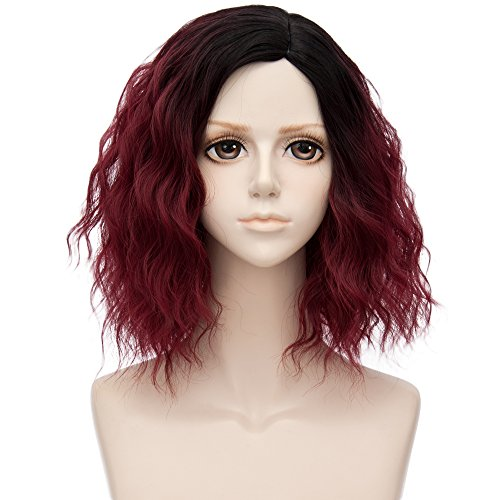 Alacos 35cm Fashion Black Dark Roots Ombre Short Curly Bob Christmas Daily Costumes Wig for Women +Wig Cap (Burgundy Wine -