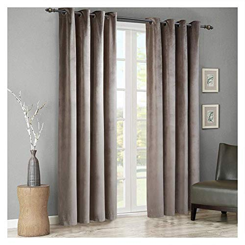 SINGINGLORY Velvet Curtains 2 Panels Set, Blackout Thermal Insulated Velour Grommet Drapes with 2 Tiebacks for Bedroom and Living Room (52 x 96 inch, Taupe)