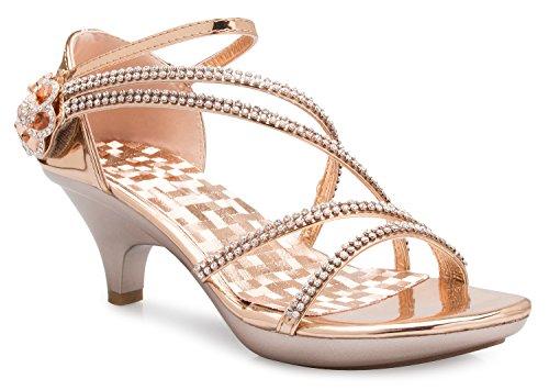 OLIVIA K Women's Open Toe Strappy Rhinestone Dress Sandal Low Heel Wedding Shoes Rosegold