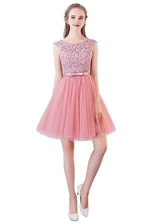 baf0b260d6f211 MisShow Damen Prinzessin Tüll Ballkleid Abendkleid Brautjunfernkleid  Applique Rückenfrei Kurz Gr.32-46: Amazon.de: Bekleidung