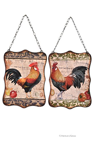 Set of 2 Rustic Country Rooster/Hen Home Decor Wall Kitchen Sign Plaque
