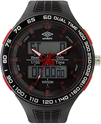 UMBRO UMB-04-1 Unisex ABS Black Band, ABS Bezel 52mm Case Digital MIYOTA AL35 SR626Sw Electronic Precision Movement Water Resistant 5 ATM Sport Watch