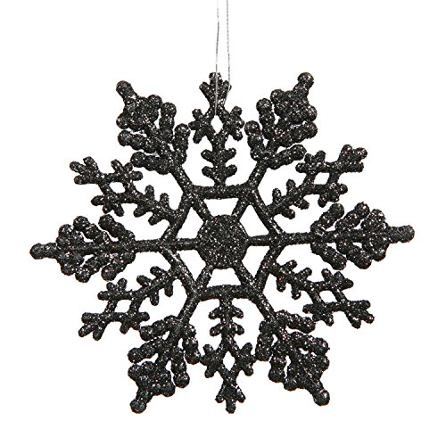 club pack of 24 jet black glitter snowflake christmas ornaments 4 - Black And Silver Christmas Decorations