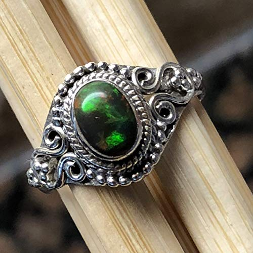 - Genuine Chalama Black Opal 925 Solid Sterling Silver Solitaire Filigree Engagement Ring sz 7.25