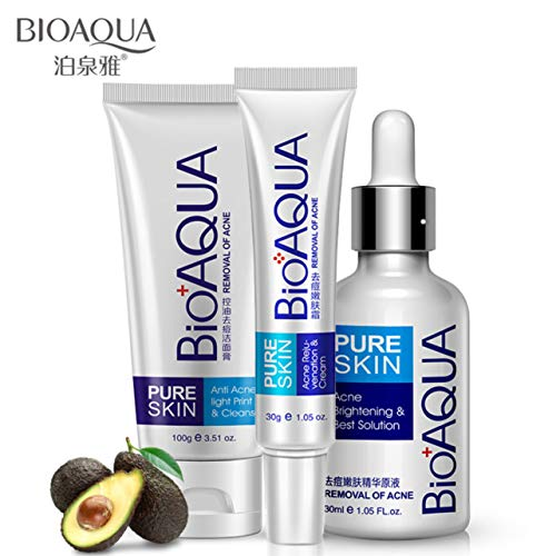 BIOAQUA 3in1 Face Acne Treatment Scar Removal Spots Whitening Oil Cream Scar Blemish Marks Moisturizing Oil 100g+30g+30ml