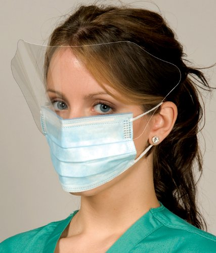 DEFEND PLEATED EAR-LOOP MASK W/SHIELD (Blue) 50 per box by DEFEND