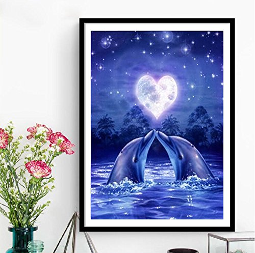 RunFar Dolphin Pattern DIY 5D Diamond Embroidery Painting Cross Stitch Craft Diamond Painting By Number Kits Home Decor Gift