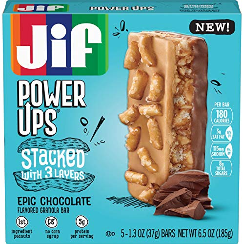 Jif Power Ups Epic Chocolate Peanut Butter Pretzel, 3 Layer Stacked Flavored Granola bar, 6.5 oz