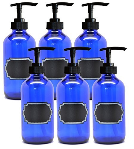 6 Pack Firefly Craft Cobalt Blue PLASTIC Pump Bottles with Chalkboard Labels, 16 ounces each -