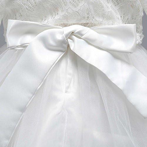 Happy Cherry Robe de C/ér/émonie B/éb/é Fille Tulle Robe de Princesse Manches Longues pour Anniversaire Soir/ée Bapt/ême Mariage Blanc 0-12mois