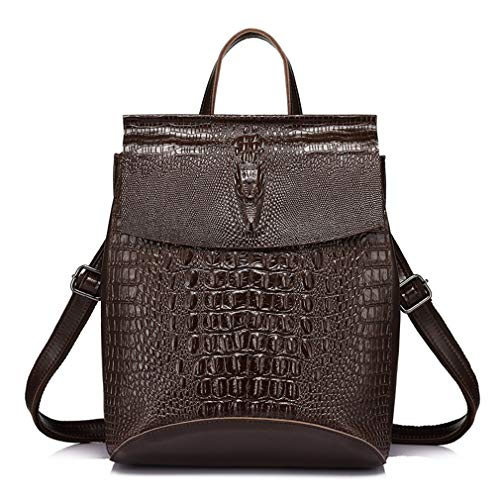 Multifunctional Shoulder Women Bag Female Prints Leather Backpack Crocodile Coffee Fashion Split d8wg8I