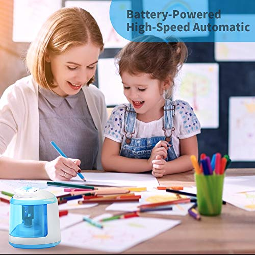 Electric Pencil Sharpener Battery Operated Automatic Pencil Sharpener with 1PC Replacement Blades, Manual and Electric Free to Switch, Anti-Slip (Blue)