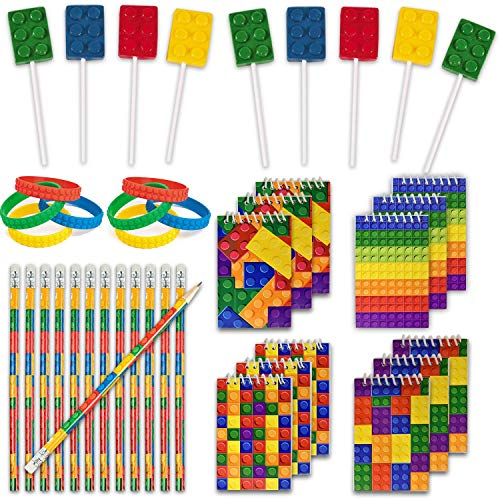 Party Lollipop Birthday - 48 Building Blocks Favors - 12 Lollipop Suckers in 4 Flavors + 12 Bracelets + 12 Mini Notepads + 12 Pencils, Great for Lego Enthusiastic Kids - Brick Birthday Party Supplies and Prizes