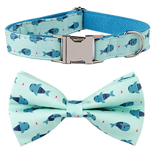 NestTimes Whale Dog Bow Tie Dog Collar,Detachable Bowtie, Adjustable Collar for Small Medium Large Dogs ()