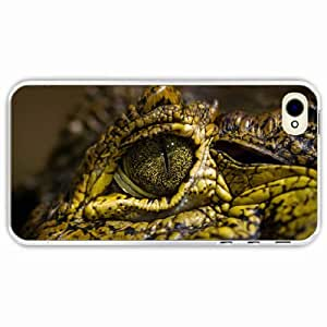 iPhone 4 4S Black Hardshell Case crocodile eyes spots Transparent Desin Images Protector Back Cover by runtopwell